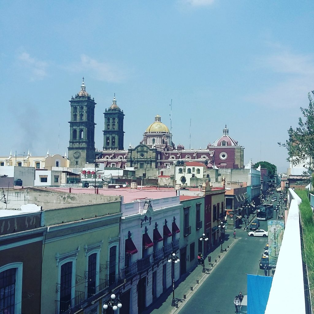 view of Puebla's cathedral from Museo Amparo terrace