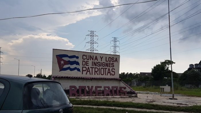 """Craddle and slab of remarkable patriots"" . Cuban highway"
