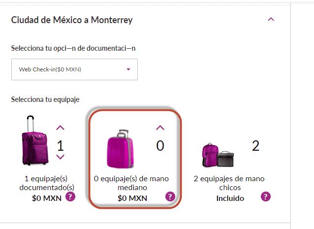 carrito de compra online volaris equipaje de mano