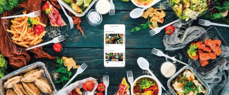 food around a mobile phone, delivery